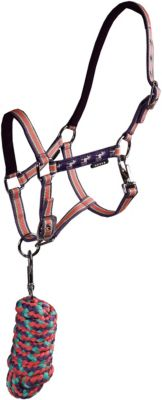 Teen Reitzubehör Halter including 180 cm lead rope -Padded and adjustable headpiece and noseband -Wove Jolly tape on both cheeks   W lila Gr. 90-110 Mädchen Kinder