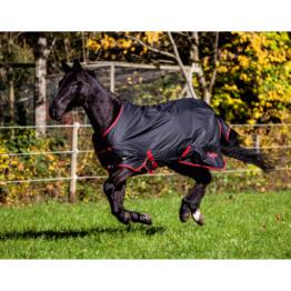 Kerbl Pferdedecke RugBe Outdoor Zero 1, 135 cm / 185 cm, schwarz/rot eingefasst