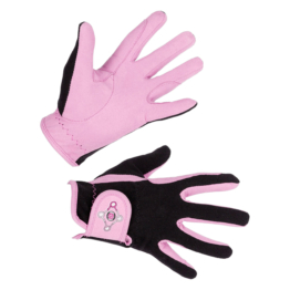 Kinderreithandschuh Lilli, black/pink, Gr. M