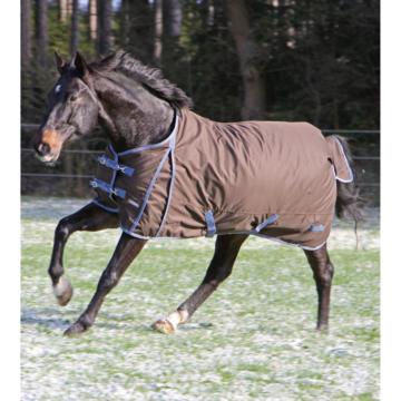 RugBe Pferde Winterdecke IceProtect 300, dunkelbraun/rot, Rückenlänge 125 cm, Gesamtlänge 175 cm