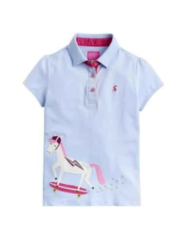 Joules Older Moxie Polo Shirt Sky Blue Skate Horse
