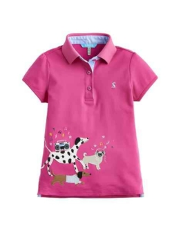 Joules Older Moxie Polo Shirt Tue Pink Party Dogs